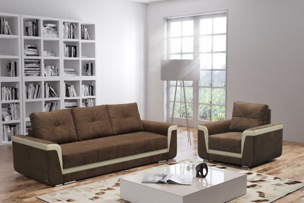 Schlafsofa Schlafcouch Couch Polstersofa Flor Sessel Set 03