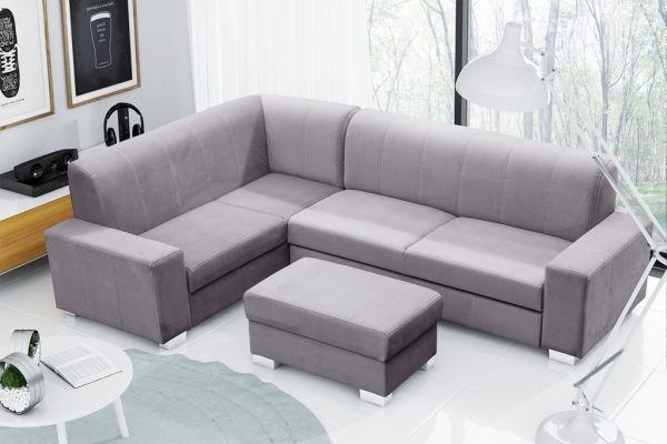 Ecksofa mit Schlaffunktion Eckcouch Polstersofa Couch mit Hocker Medis 04