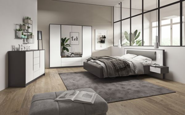 Schlafzimmerkomplett Weiß Grau Schlafzimmerset Sino 13