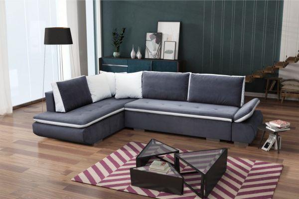 Ecksofa mit Schlaffunktion Eckcouch Polstersofa Couch Nero 04