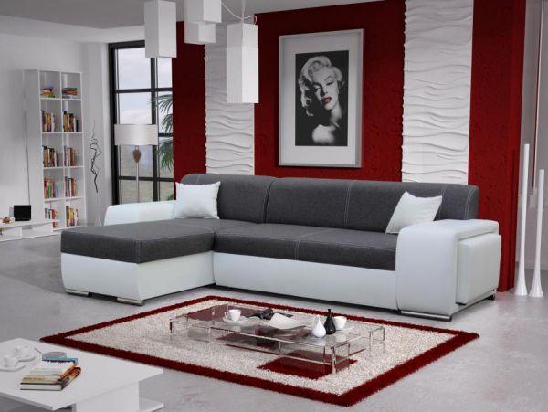 Ecksofa Mile Schlafsofa Abstellfläche Polstersofa Couch Sofa 26