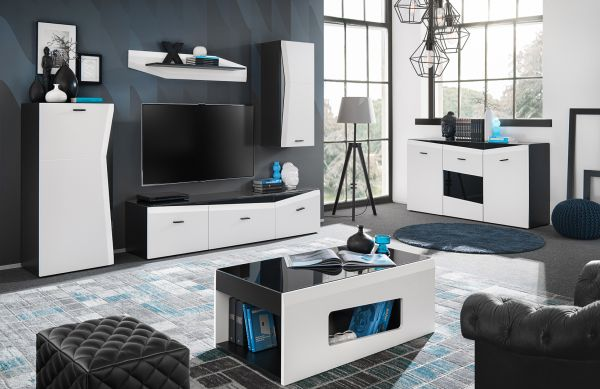 Wohnzimmerset Rizo Weiß Schwarz Modern 10