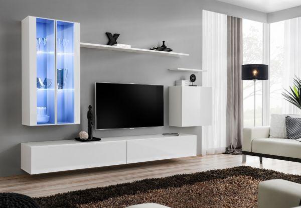 Wohnwand Tiko Anbauwand Schrankwand mit Led Hochglanz Set 21