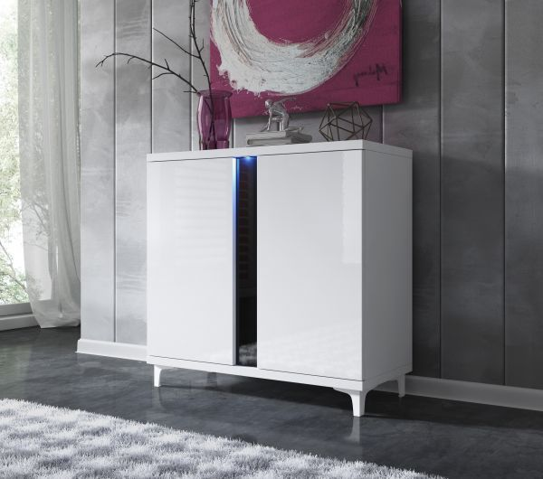 Kommode 90 cm Sideboard Marcos Hochglanz inkl. Led 07